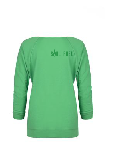 Raw edge French terry raglan lime green back
