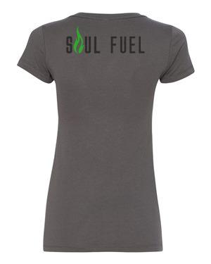 Soul Fuel Womens VNeck Dark Grey Green Flame LEFT CHEST BACK