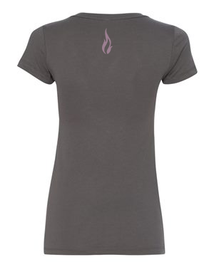 Soul Fuel Womens VNeck Dark Grey Pink Flame Back