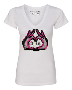 Women's Heart Hands Graphic V-Neck